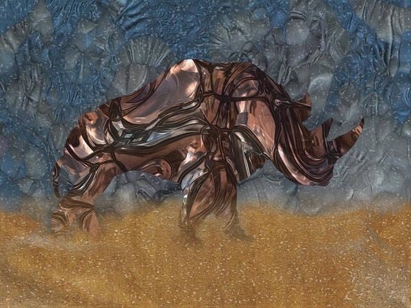 Mounted Digital Art - Rhino 4 by Jack Zulli
