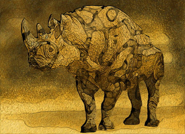 Gold Painting - Rhino - Abstract by Jack Zulli