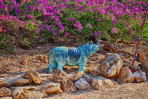 Photograph - Rhino And Bougainvillea by Omaste Witkowski