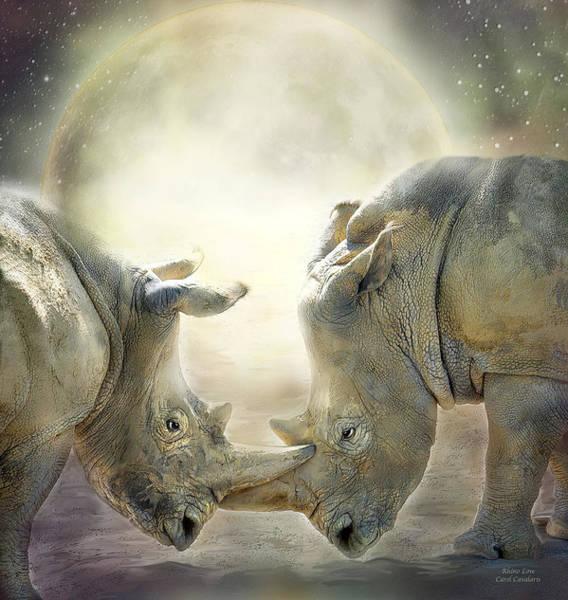 Mixed Media - Rhino Love by Carol Cavalaris