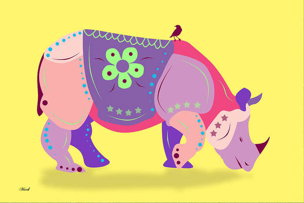 Domestic Digital Art - Rhino by Mark Ashkenazi