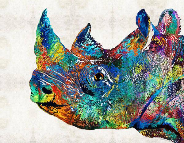 Painting - Rhino Rhinoceros Art - Looking Up - By Sharon Cummings by Sharon Cummings