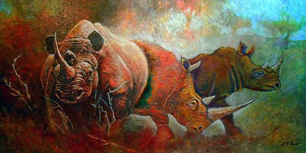 Rhino Painting - Rhino Walk by Michael Durst