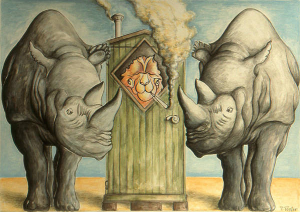 Drawing - Rhino Pressure - Funny Cartoon by Peter Potter