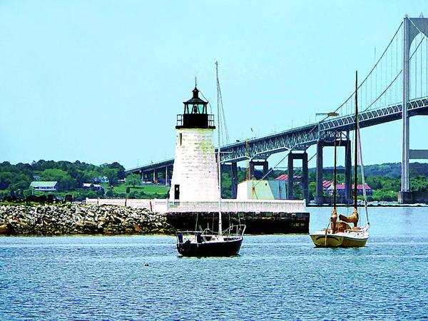 Photograph - Rhode Island - Lighthouse Bridge And Boats Newport Ri by Susan Savad