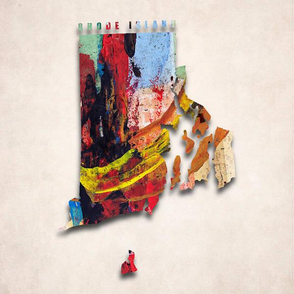 Rhode Island Digital Art - Rhode Island Map Art - Painted Map Of Rhode Island by World Art Prints And Designs
