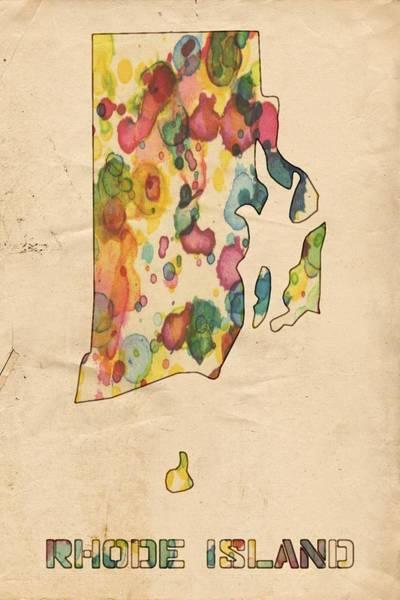 Painting - Rhode Island Map Vintage Watercolor by Florian Rodarte
