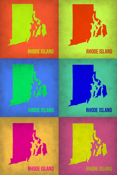 Rhode Wall Art - Painting - Rhode Island Pop Art Map 1 by Naxart Studio