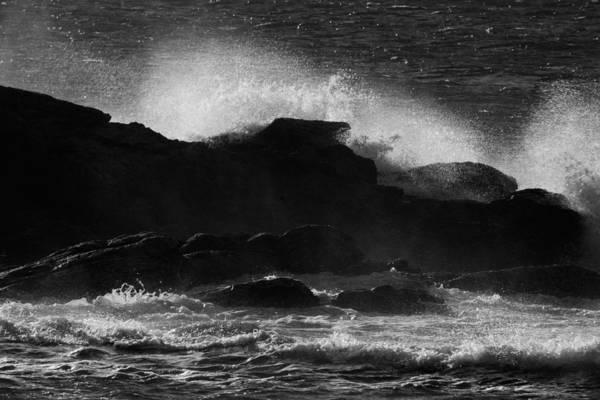 Photograph - Rhode Island Rocks With Crashing Wave by Nancy De Flon