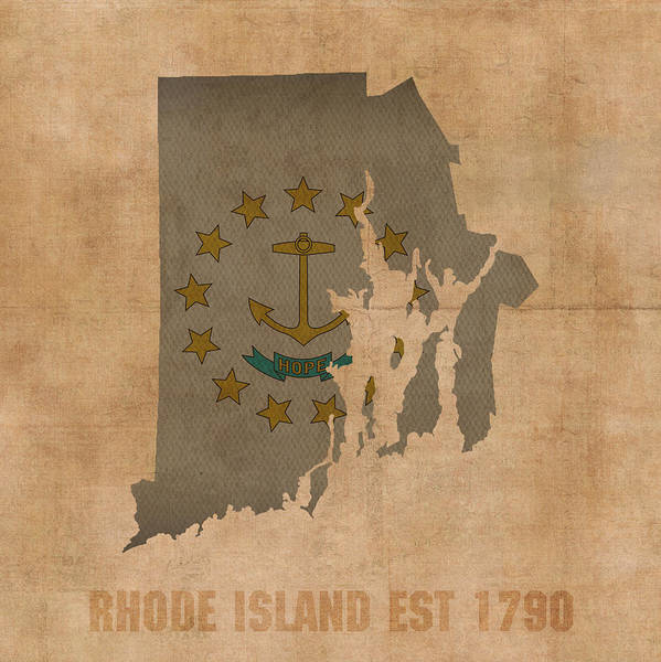 Island Mixed Media - Rhode Island State Flag Map Outline With Founding Date On Worn Parchment Background by Design Turnpike