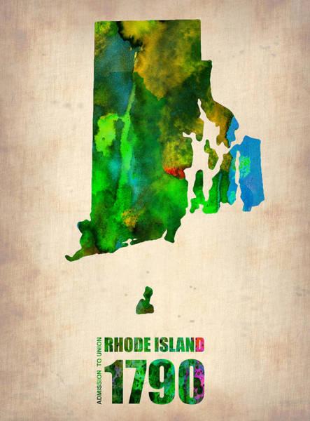 Rhode Wall Art - Digital Art - Rhode Island Watercolor Map by Naxart Studio