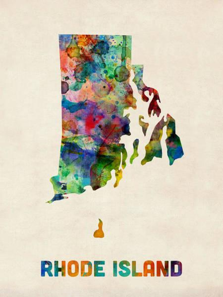 Rhode Island Digital Art - Rhode Island Watercolor Map by Michael Tompsett
