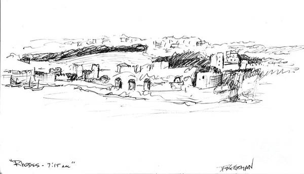 Impressionistic Landscape Drawing - Rhodes Early Morning by Valerie Freeman