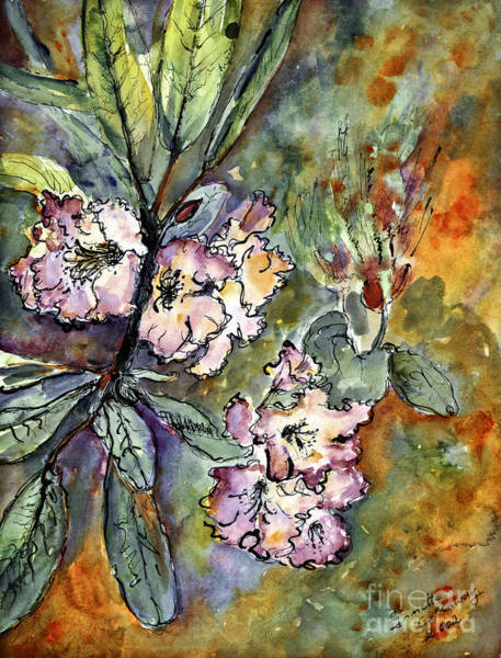 Painting - Rhododendron Watercolor And Ink by Ginette Callaway