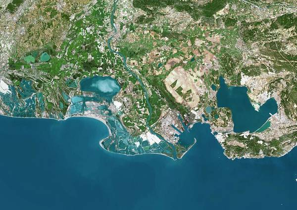 Rhone River Photograph - Rhone River Delta by Planetobserver/science Photo Library