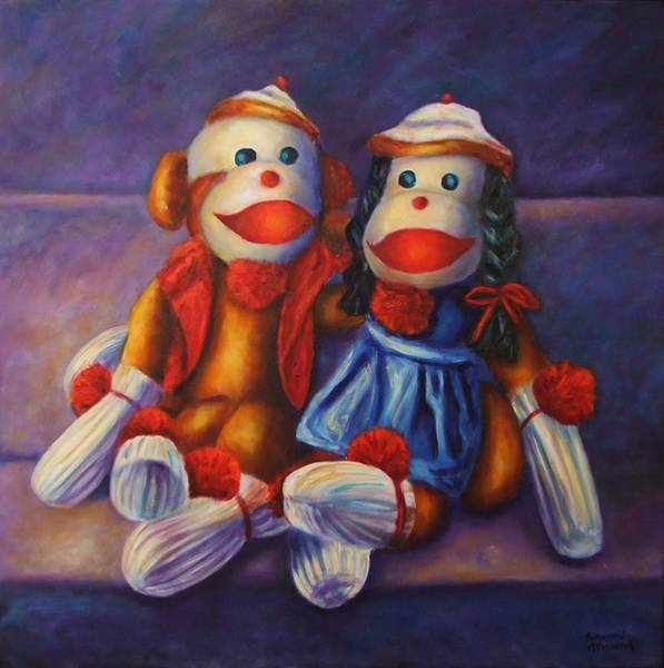 Sock Monkey Painting - Rhyme And Reason by Shannon Grissom