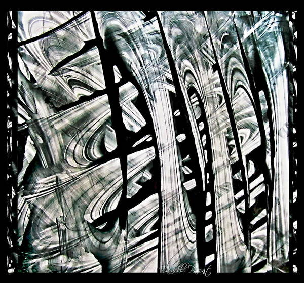Photograph - Rhythm And Flow In Black And White Abstract  Alcohol Inks  by Danielle  Parent