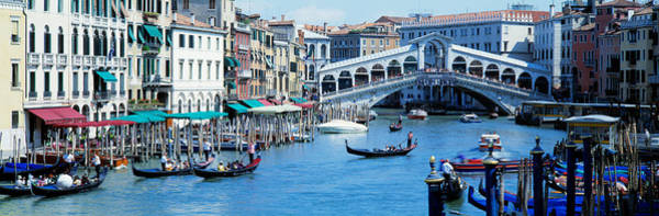 Balcony Photograph - Rialto Bridge & Grand Canal Venice Italy by Panoramic Images