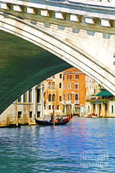 Gondola Photograph - Rialto Bridge And Gondola by Laura D Young