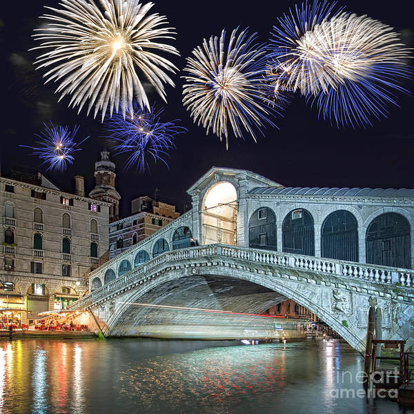 Wall Art - Photograph - Rialto Bridge Fireworks by Delphimages Photo Creations