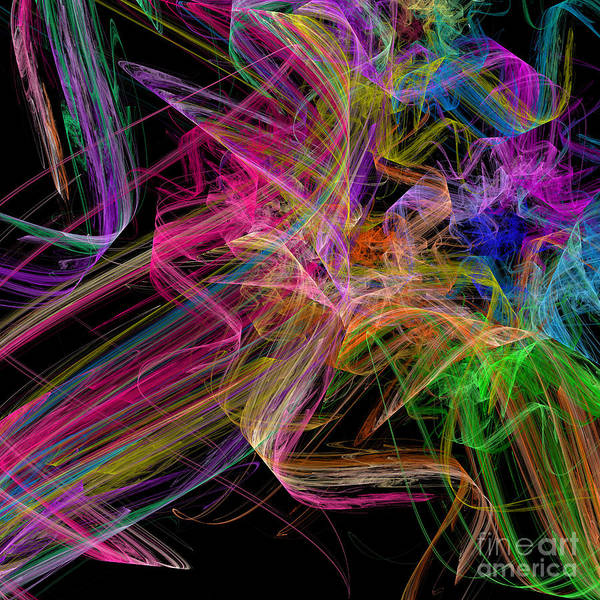 Digital Art - Ribbons And Curls Black - Abstract - Fractal by Andee Design