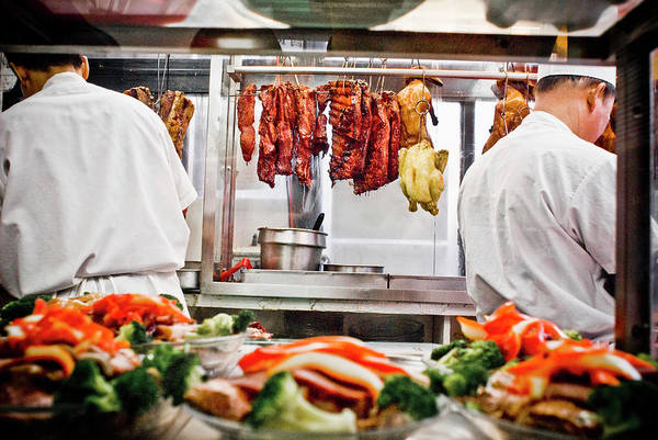 Duck Meat Photograph - Ribs, Ducks And Chicken Hangs On Steel by Dan Chung