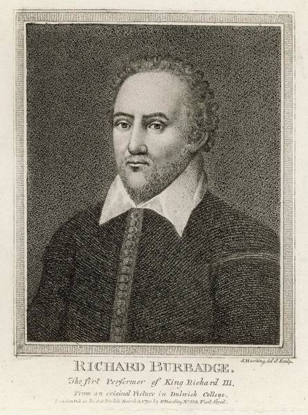 Globe Theatre Drawing - Richard Burbage  Actor; by Mary Evans Picture Library