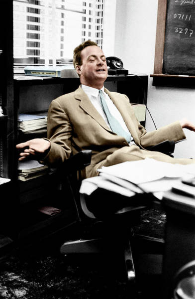 Photograph - Richard Feynman by Estate Of Francis Bello. Coloured By Science Photo Library