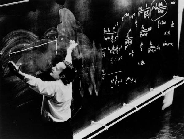 Wall Art - Photograph - Richard Feynman Giving A Lecture At Cern by Cern/science Photo Library