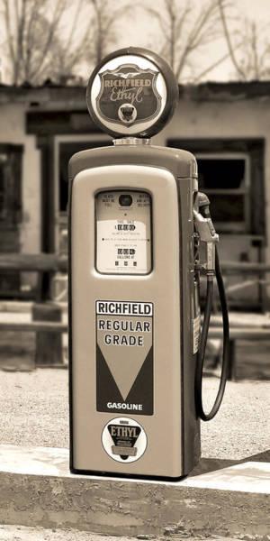 Gas Station Photograph - Richfield Ethyl - Gas Pump - Sepia by Mike McGlothlen