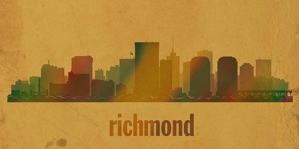 Richmond Virginia Wall Art - Mixed Media - Richmond Virginia City Skyline Watercolor On Parchment by Design Turnpike