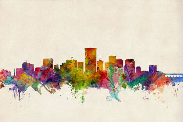 Watercolours Wall Art - Digital Art - Richmond Virginia Skyline by Michael Tompsett