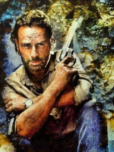 The Walking Dead Painting - Rick Grimes by Janice MacLellan