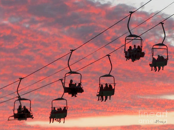 Aerial Tramway Wall Art - Photograph - Ride Into The Sunset by Jennie Breeze