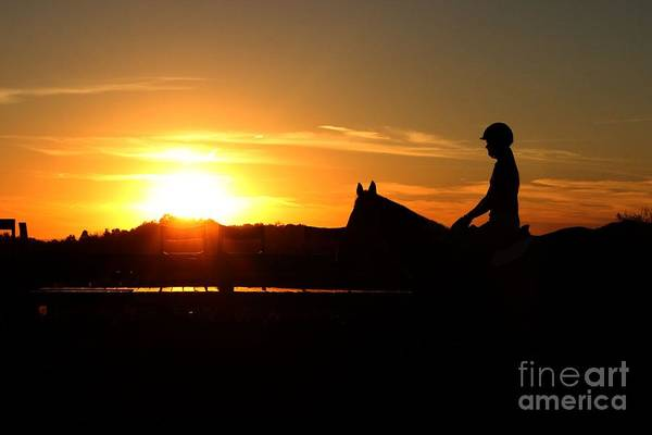 Riding At Sunset Art Print