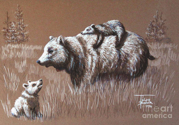 Painting - Riding Bear Back by Art By - Ti   Tolpo Bader