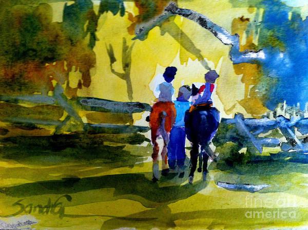 Horsemanship Painting - Riding Lessons by Sandra Stone
