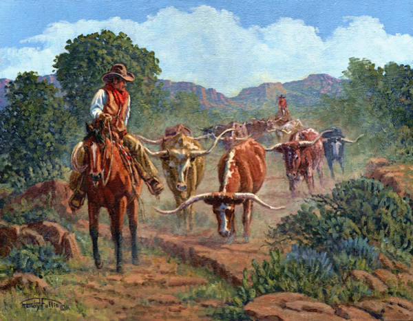 Longhorn Painting - Riding Point by Randy Follis