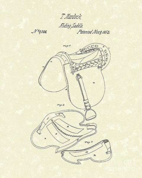 Drawing - Riding Saddle 1852 Patent Art by Prior Art Design
