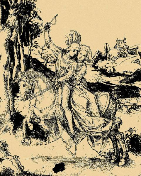 German Renaissance Drawing - Riding Sepia Paper by