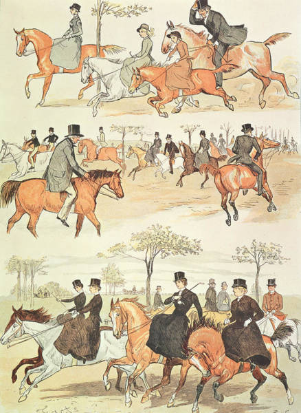 Reins Painting - Riding Side-saddle by Randolph Caldecott