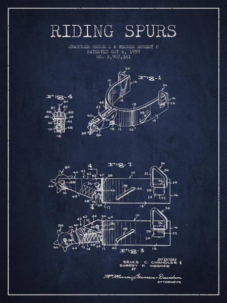 Cowboy Digital Art - Riding Spurs Patent Drawing From 1959 - Navy Blue by Aged Pixel
