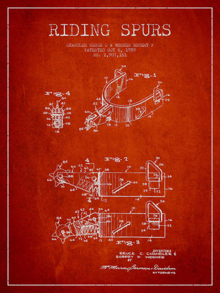 Cowboy Digital Art - Riding Spurs Patent Drawing From 1959 - Red by Aged Pixel