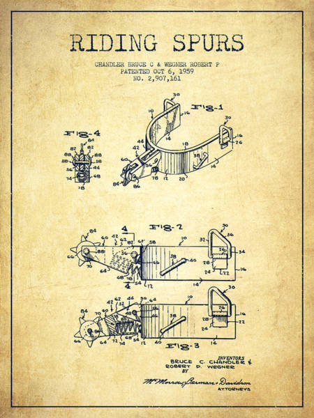 Cowboy Digital Art - Riding Spurs Patent Drawing From 1959 - Vintage by Aged Pixel