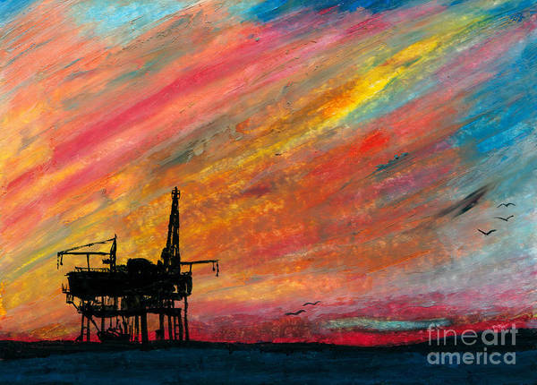 Platform Painting - Rig At Sunset by R Kyllo