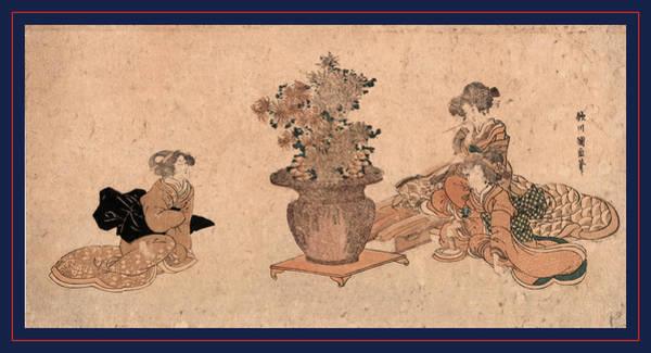 1854 Drawing - Rikka O Nagameru San Bijin by Utagawa, Kuninao (1795-1854), Japanese