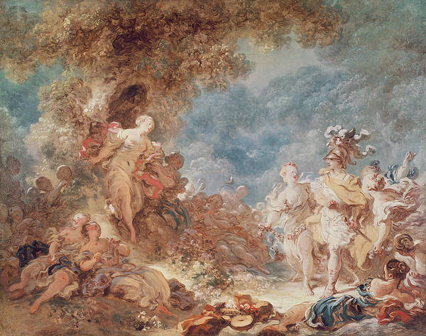 Poems Photograph - Rinaldo In The Gardens Of Armida Oil On Canvas See Also 250309 by Jean-Honore Fragonard