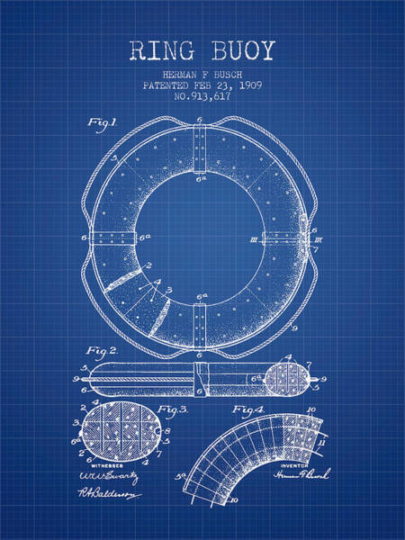 Lifeguard Digital Art - Ring Buoy Patent From 1909 - Blueprint by Aged Pixel