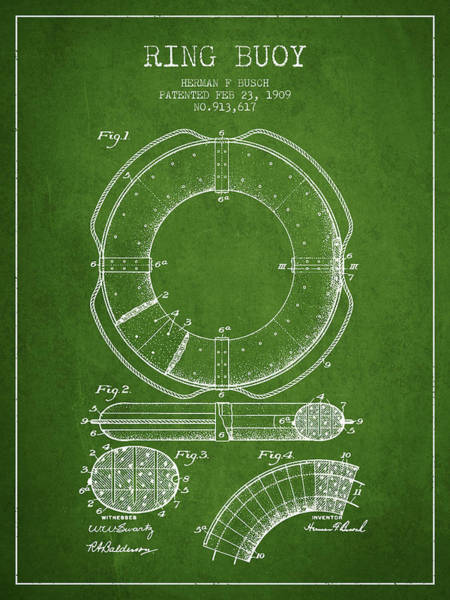Lifeguard Digital Art - Ring Buoy Patent From 1909 - Green by Aged Pixel