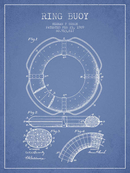 Lifeguard Digital Art - Ring Buoy Patent From 1909 - Light Blue by Aged Pixel